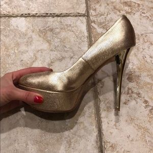 Shoes - MARCIANO GOLD HEELS